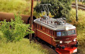A train model on a toy railroad.