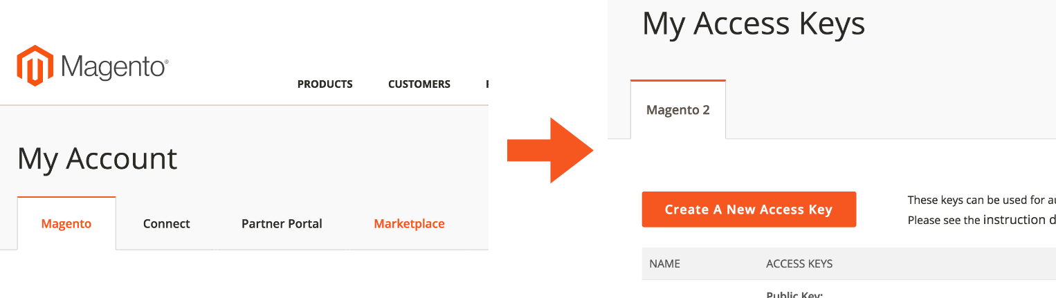 Magento.com Access keys creation in the Marketplace area