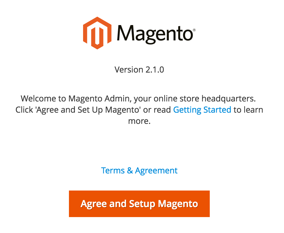 Magento 2 setup screen
