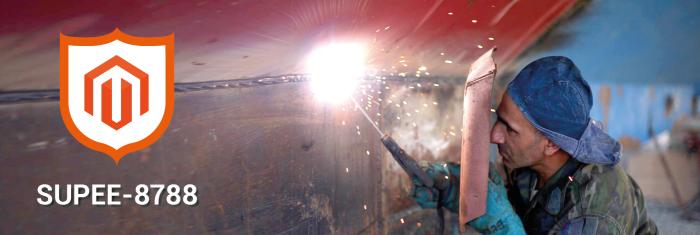 Welder welding a boat