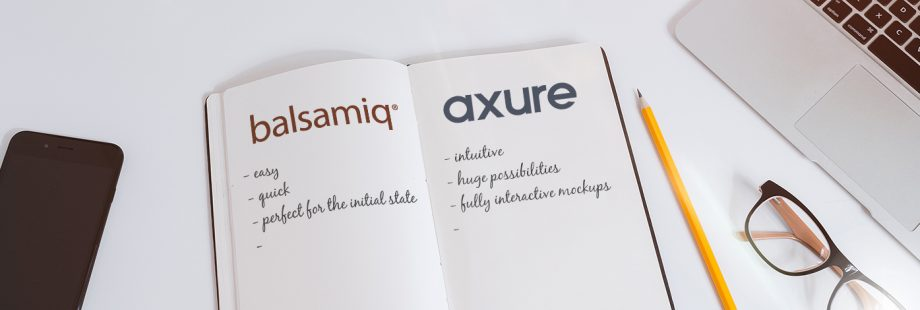 Notebook with advantages and disadvantages of balsamiq and axure