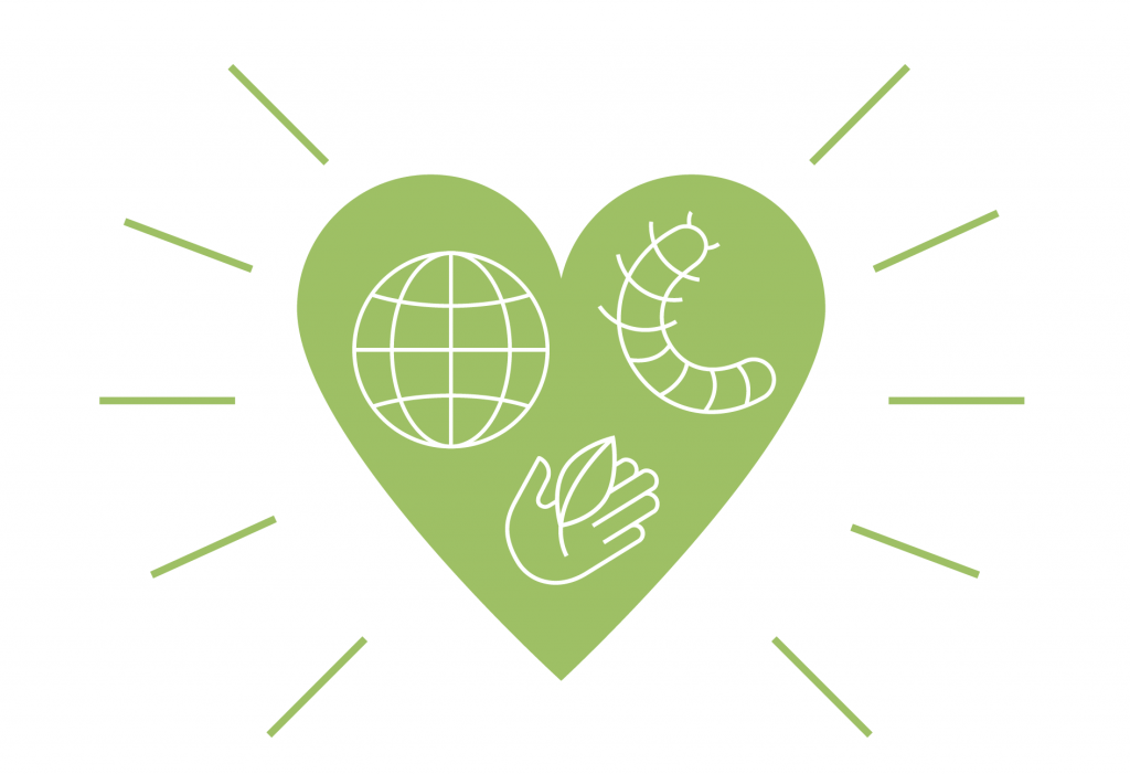 A green heart shape, wrapping a globe, an insect and a hand with a leaf.