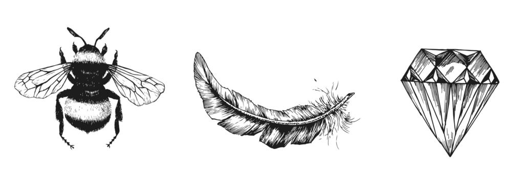 bee, feather, diamond, illustration, drawing