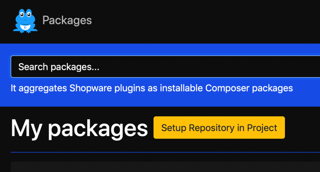 Setup repository in project button